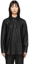 Tibi Black Faux-Leather Utility Blouse