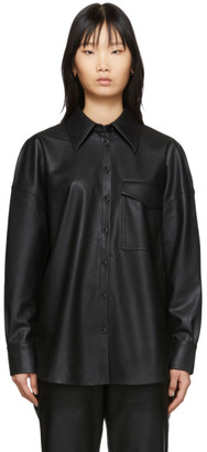 Tibi Black Faux-Leather Utility Blouse