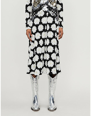 Paco Rabanne Daisy-embroidered stretch-cotton midi skirt