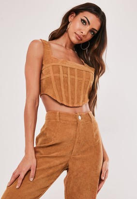 Missguided Petite Brown Co Ord Cord Corset Crop Top
