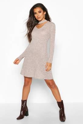 boohoo Rib Choker Long Sleeve Swing Dress