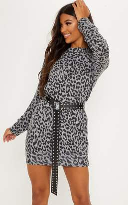 PrettyLittleThing Grey Knitted Leopard Print Jumper Dress