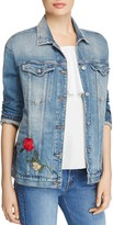7 For All Mankind Trucker Rose Embroidered Denim Jacket