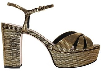 Schutz Keefa Metallic Leather Platform Sandals