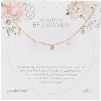 Dogeared Will You Be My Bridesmaid? 3mm Pearl Charm Necklace