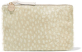 Clare Vivier Maison leather-trimmed printed calf hair clutch
