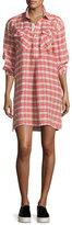 Current/Elliott The Levee Western Plaid Mini Dress, Red Multi Pattern