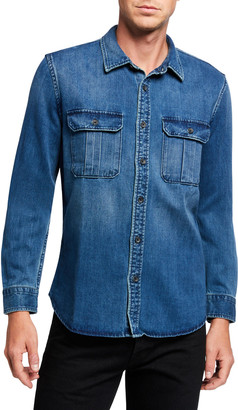 7 For All Mankind Men's Patch Pocket Sport Shirt
