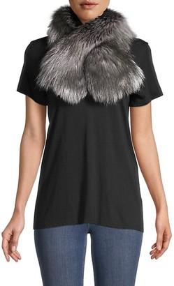 Adrienne Landau Metallic Fox Fur Pull-Through Scarf