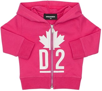 DSQUARED2 Zip-Up Logo Cotton Sweatshirt Hoodie