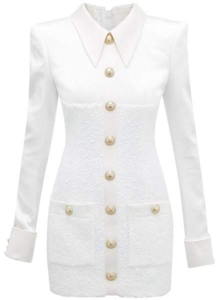 Balmain Buttoned Satin And Tweed Mini Dress - Womens - Cream