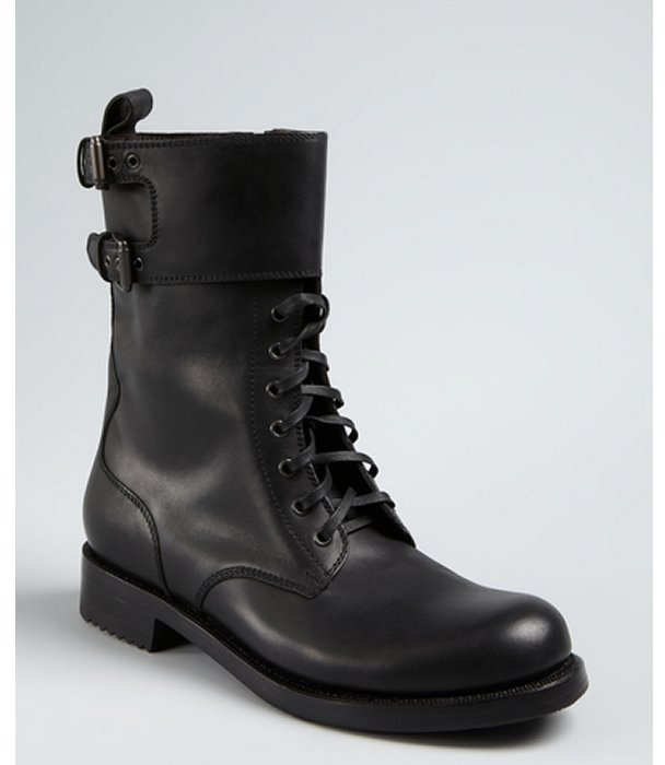 Bottega Veneta black leather buckle monk strap lace up combat boot