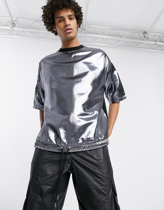 ASOS DESIGN oversized t-shirt with half sleeve and drawcord hem in woven metallic silver