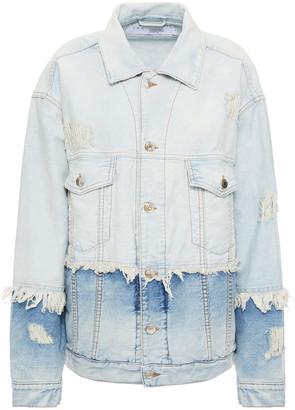 IRO Distressed Paneled Denim Jacket