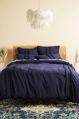 Anthropologie Fringed Mirabella Duvet Cover By in White Size KG TOP/BED