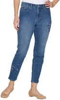 Denim & Co. Studio by Regular Slim Leg Ankle Jeans with Embroidery