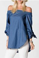 Armario De La Bella Off-Shoulder Denim Top