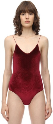 Oseree Velvet One Piece Swimsuit W/ Lace Trim