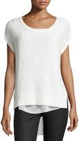 Bishop + Young Chunky-Knit Chiffon-Layered Sweater, Ivory