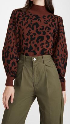 Leopard Mock Neck Pullover