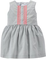 Carter's Ticking Stripe Dress (Baby) - Olive-9 Months