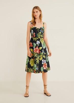 MANGO Linen tropical dress black - 4 - Women