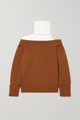 Monse Cutout Two-tone Ribbed Merino Wool Turtleneck Sweater - Tan