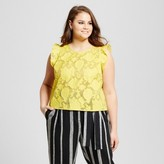 Who What Wear Women's Plus Size Brocade Shell Yellow