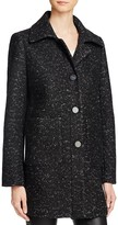 Elie Tahari Single-Breasted Button Front Mélange Coat