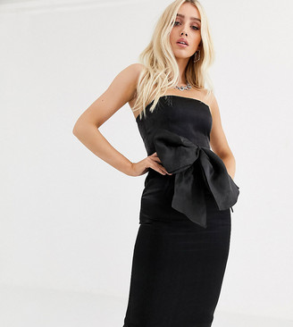 UNIQUE21 bodycon midi dress with oversized organza bow