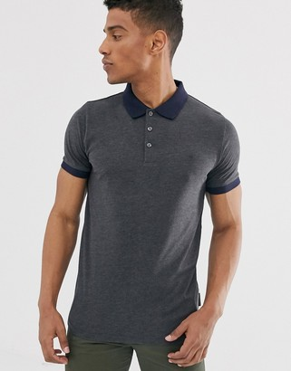 French Connection organic cotton polo with contrast collar in grey