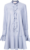 Roksanda ruffled trim striped shirt dress - women - Cotton - 6