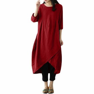 DEELIN Women's Dresses for Summer Holiday Beach Vintage Round Neck Solid Long Sleeve Cotton and Linen Tunic Baggy Long Maxi Dress Plus Size L-4XL(Red XL)