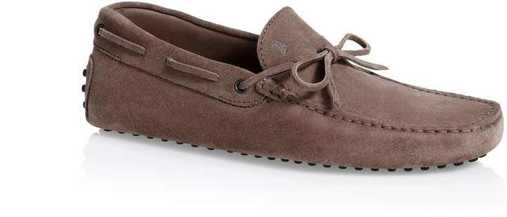 Tod's Gommino Suede Moccasin Loafers With Front Tie