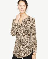 Ann Taylor Petite Cheetah Print Tie Waist Tunic Blouse