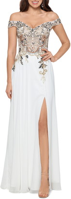 Xscape Evenings Embellished Off the Shoulder Gown