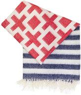 Jonathan Adler Red & Blue Nixon Stripe Throw