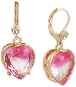 Betsey Johnson Gold-Tone Stone Heart Drop Earrings