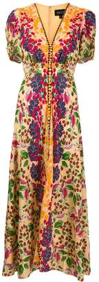 Saloni V-neck floral print dress