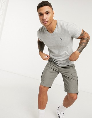 Abercrombie & Fitch icon V-neck t-shirt in grey