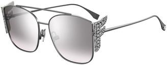 Fendi Square Aviator Sunglasses w/ Golden F Temples