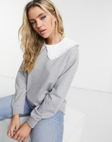 Thumbnail for your product : New Look collar detail sweat in mid grey