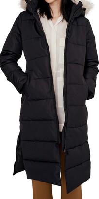 Noize Long Parka with Faux Fur Trim