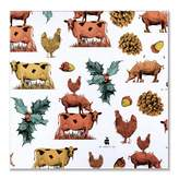 Pig, Chicken & Cow - Holly Leaves Pocket Square