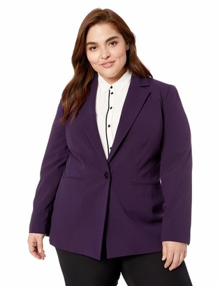 Nine West Women's Size Plus 1 Button Notch Collar Stretch Jacket