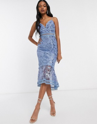 Asos Design DESIGN pencil dress in embroidered sequin with lace trims-Blue