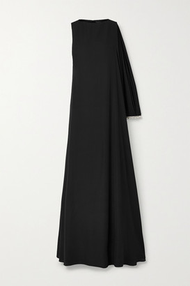 Reem Acra Asymmetric Crystal-embellished Crepe Gown - Black