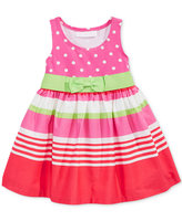 Bonnie Baby Dot-Print & Stripes Dress, Baby Girls (0-24 months)
