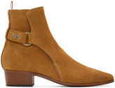 Saint Laurent Tan Suede Snap French Ankle Boots