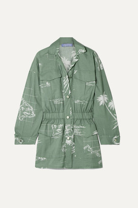 Paradised - Beach Explorer Oversized Printed Cotton-voile Jacket - Gray green